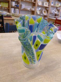 Pretty Vase made by someone at Glazed Over Ceramics, Houston.