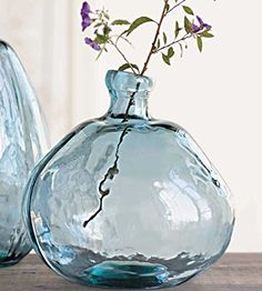 Recycled Glass Balloon Vase - Smoky Blue (round) Vivaterra *** too much for my budget but I love this!