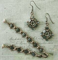Linda's Crafty Inspirations: Layered Tila Earrings - Steel Blue