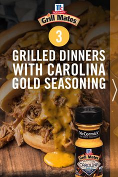 Get three grilled dinner recipes that use the sweet and tangy Carolina Gold BBQ seasoning. The blend of mustard and hickory smoke is the epic flavor combination to take pulled pork, chicken or ribs to the next level. Grilling Recipes, Meat Recipes, Low Carb Recipes, Dinner Recipes, Shrimp Recipes, Recipies, Barbacoa, Bbq Seasoning, Canadian Food
