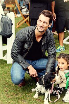 David gandy with a cute dog and a cute kid. Goodbye ovaries.