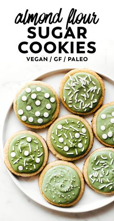 paleo christmas cookies Weihnachtspltzchen The perfect roll out recipe for any holiday, these Almond Flour Sugar Cookies are simple and soft made with applesauce, maple syrup, and a matcha frosting! Healthy Vegan Dessert, Cake Vegan, Paleo Sweets, Cut Out Cookie Recipe, Cut Out Cookies, Cookie Recipes, Dessert Recipes, Almond Flour Recipes, Vegan Recipes