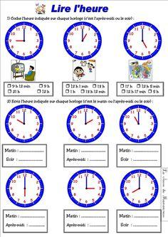 2 Exercices à imprimer pour apprendre à lire l'heure ...