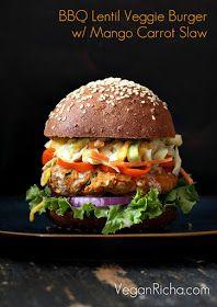 Vegan BBQ Lentil Veggie Burger with Mango Carrot Slaw