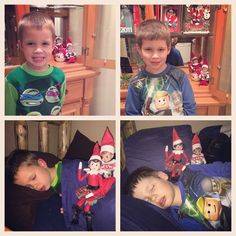 The boys each said goodbye to Elfer and Sprinkle tonight since they knew that the elves would return to the Borth Pole with Santa tonight. I took their pictures and they went to bed. When they awoke Christmas morning, the elves had climbed into bed with them and left a picture of it saying their goodbyes!  https://www.facebook.com/JessLasher/timeline/story?ut=43&wstart=0&wend=1451635199&hash=7421271096930635601&pagefilter=3