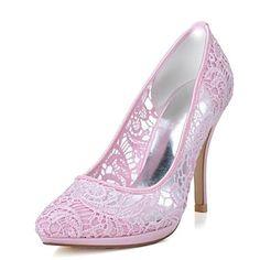 KADIN - Topuklar/Sivri Uçlu - İnce Topuk - Dantel Pompalar / Topuklar ( Siyah/Pembe/Fildişi/Beyaz ) – USD $ 34.99