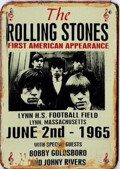 The Rolling Stones first American appearance concert poster. Pink Floyd, The Rolling Stones, Rock 7, Rock N Roll, Rock Posters, Band Posters, History Posters, Bobby Goldsboro, Concert Rock