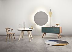 Picture perfect from left: Sleek chair, Mood table, Mood sideboard, Pluto lamp, Polygon rug and Morse uplight lamp.