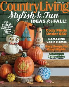 Country Living Magazine - October 2015 - Stylish & Fun Ideas for Fall and More! Cute Pumpkin, Owl Pumpkin, Pumpkin Ideas, Country Living Magazine, Digital Magazine, Displaying Collections, Cabin Homes, Holidays Halloween, Journals