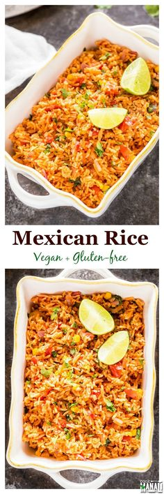 Vegetarian Mexican Rice with tomatoes, corn, garlic & jalapeno. Serve it as a side or main dish. Vegan & gluten-free. Find the recipe on www.cookwithmanali.com