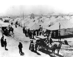 The Methodist tent city at Huntington Beach (then Pacific City), circa 1900.  The annual gathering was attended by hundreds, bringing visitors to the shore.  Huntington Beach and the Gospel Swamp area nearby attracted many tent revival groups.  Photo, City of Huntington Beach archives.