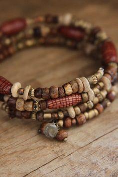 Boho Wooden Wrap Bracelet Wood Bracelet Boho by DlightedJewelry