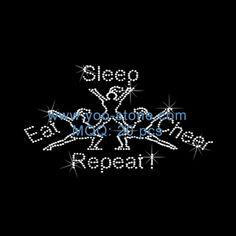 Eat Sleep Cheer Repeat Rhinestone Heat Transfers For T Shirts