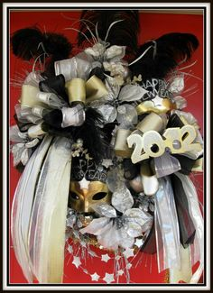 Fun and Festive New Years Wreath 2012 Party by petalpusherswreaths, $159.95