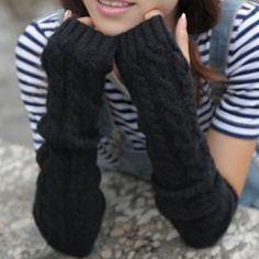 Pair of Fashionable Hemp Flower Pattern Solid Color Fingerless Gloves For Women 8.83 USD