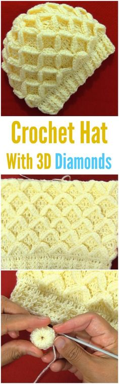 3D diamonds crochet