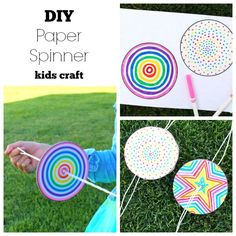 DIY Paper Spinner for Endless Fun Hi! I'm kimbo from a girl and a glue gun and I've got a super fun craft for you to keep the kids entertained this summer, part of the Make and Takes summer series Get Out and Play! Easy Crafts For Kids, Summer Crafts, Diy For Kids, Fun Crafts, Arts And Crafts, Easter Crafts, Wine Bottle Crafts, Mason Jar Crafts, Paper Spinners