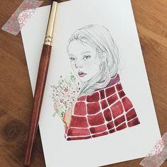 #watercolor #painting #girl #flower #sketch #sweet #lovely #little #art #엽서 #손그림 #소녀 #illust #illustration #그림 #스케치 #드로잉 #drawing #drawingbijou