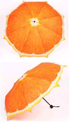 China Fashion 3 Folding Umbrella with Painted Orange Fruit (LGUD14068) - China Umbrella, Sun Umbrella