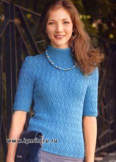 Стильно и женственно! Пуловер цвета морской волны с рельефными узорами. Спицы