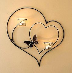 CraftVatika Iron Decorative Double Heart Wall Sconce Candle Holder Hanging Tealight Holders Home Arts Weddings Events Decor Handmade Candle Holders, Wall Candle Holders, Candle Wall Sconces, Handmade Candles, Support Bougie, Wrought Iron Decor, Iron Wall Decor, Support Mural, Iron Furniture