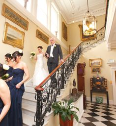 Father of the Bride and Bride coming down Front Staircase