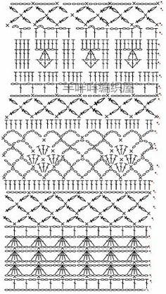 Granny Square Crochet Pattern, Crochet Borders, Crochet Diagram, Crochet Stitches Patterns, Filet Crochet, Crochet Motif, Crochet Lace, Stitch Patterns, Knitting Patterns