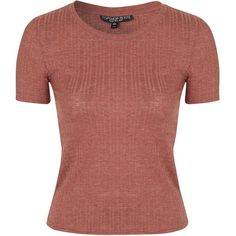 TOPSHOP PETITE Ribbed T-Shirt (29 CAD) ❤ liked on Polyvore featuring tops, t-shirts, petite, red, red tee, ribbed top, ribbed t shirt, ribbed tee and rib tee