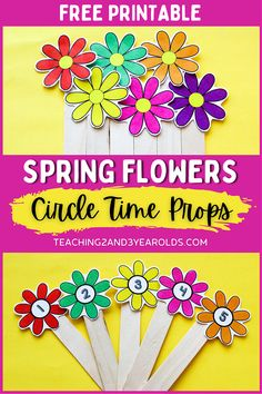 Work on color and number recognition with these printable gardening theme circle time props. This set includes colorful plain and numbered flowers for learning fun! #toddlers #preschool #spring #gardening #flowers #circletime #printable #props #teachers #teaching2and3yearolds