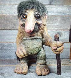 Nyform Norway Troll Man with Walking Stick, Large Figure 9 inches tall #NyForm #TrollsFigure