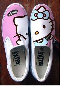 Zapatos Hello Kitty pintados a mano