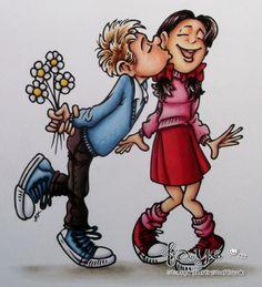 Geeky Love. Boy – Skin; E000, E00, E11, E04, E93, Boy Hair; E53, E55, E57,Trousers; E74, E77, E79, White; C0, C1, Blue; B41, B45, B97, B99, Flowers – W0, W1, W3, Y13, Y38, Girl – Skin; E50, E51, E11, E04, E93, Hair; E74, E77, E79, Pink; R81, R83, R85, R29, Red; R24, R29, E09