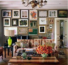 kristen buckingham's boho chic living room with art wall