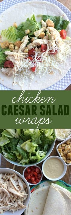 Chicken Caesar Salad Wraps are an easy, no oven dinner that are totally delicious. Uses a rotisserie chicken for maximum flavor and an easy homemade Caesar dressing using staple pantry ingredients. All the flavors you love in a classic chicken Caesar salad but rolled up in a flour tortilla.