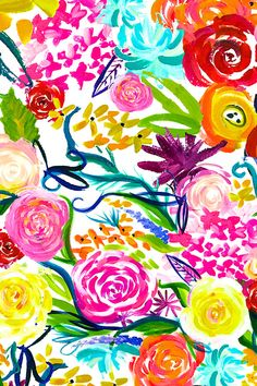 Neon Summer Floral by theartwerks.  A bright and colorful floral painting print. Perfect for projects that need larger florals-- upholstery, curtains, duvets.