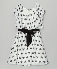 Ivory & Black Heart Chiffon Dress - Girls by Zunie & Pinky #zulily #zulilyfinds