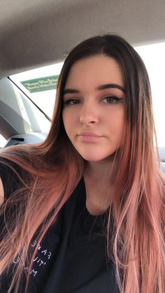 rose gold hair - rose gold brunette ombré - pink hair - dyed hair - pink hair color - rose gold hair color dyed - hair balayage