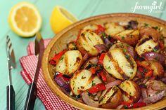 Grilled Red Potato Salad with Lemon & Herb Dressing - afarmgirlsdabbles.com #potatoes