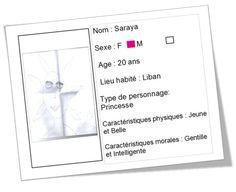 """Carte d'identité réalisée par Célia à partir du livre """"Saraya"""" de Jihad Darwiche"""
