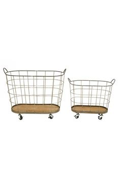 Free shipping and returns on CREATIVE CO-OP Rolling Laundry Basket (Set of 2) at Nordstrom.com. Add industrial-chic style to your laundry room (and eschew some heavy lifting) with a handy rolling laundry basket crafted from rustic gray wire and finished with a sturdy wooden bottom.