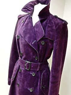 STUNNING--GENUINE-BURBERRY PURPLE LEATHER SUEDE TRENCH COAT ---AWESOME UK 10 in Clothes, Shoes & Accessories, Women's Clothing, Coats & Jackets | eBay