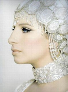 Barbra Streisand in albino drag
