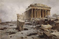 Parthenon. Temple of Athena Parthénos. (ca. 1882) by Vasily Polenov (b. 1 June 1844; St.Petersburg, Russian Federation – d. 18 July 1927; Polenovo, Russian Federation) Oil on canvas http://www.wikiart.org/en/vasily-polenov/parthenon-temple-of-athena-parth%C3%A9nos http://didoofcarthage.tumblr.com/post/114779409133/parthenon-temple-of-athena-parthenos-by-vasily