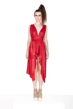 Shop The Vibrant Red Fold Dress by JOANNA HAWROT now on nelou.com. Plus 5500 more designs.