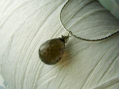 A Single Promise - genuine smokey quartz teardrop gemstone sterling silver necklace. $25.00, via Etsy.