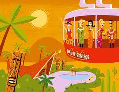 "I LOVE LOVE LOVE art by Shag (Josh Agle).  ""Desert Polynesia"".  Visual inspiration for my 2013 Mad Men premier party. Tiki! Palm Trees!  Bold fabric prints!"