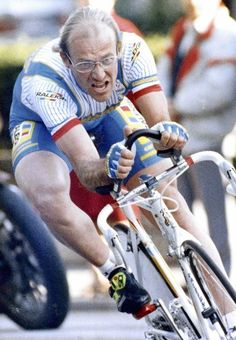 The Late Laurent Fignon. + looks like a winner's attitude. 1983 Fignon! Nice hair :P