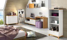 Conjunto com estante, cômoda e penteadeira para Quarto. Clique na imagem para saber mais.