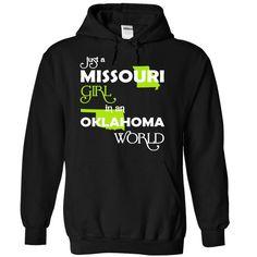 Just A Missouri Girl In A Oklahoma World T-Shirts, Hoodies. Check Price ==> https://www.sunfrog.com/Valentines/-28MOXanhChuoi001-29-Just-A-Missouri-Girl-In-A-Oklahoma-World-Black-Hoodie.html?id=41382