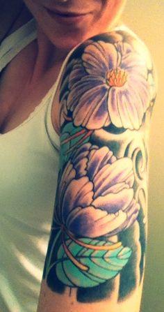 Tropical flowers and hummingbird arm sleeve   Tattoo ...
